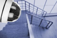Stairs under CCTV camera surveillance indoors. Above view stock image