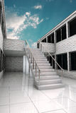 Stairs under sky. White stairs under blue  sky Royalty Free Stock Photography