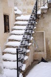 Stairs under snow Stock Photo