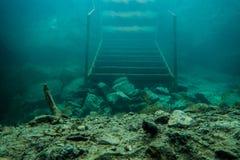 Stairs. Underwater stairs in polish lake Stock Photo
