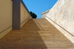 Stairs in Valletta near City Gate Putirjal, Malta. Modern stairs in Valletta city, Malta. This stairs are located near to City Gate so-called Putirjal royalty free stock image