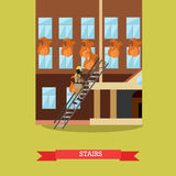 Stairs vector illustration in flat style. Vector illustration of firefighter in protective clothing, helmet and mask going upstairs to fight fire in the house Stock Images