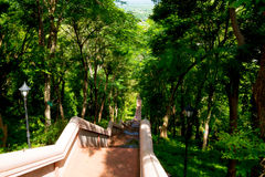 Stairs for walk up and down to khao kradong volcano or Khao Krad stock image