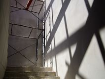 Stairs for walk up in house Under construction. stock photos