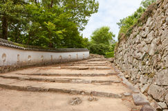 Stairs and walls of Bitchu Matsuyama castle, Takahashi, Japan Royalty Free Stock Image