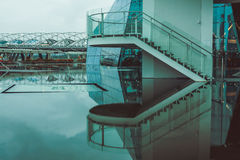 Stairs by the water with reflection Royalty Free Stock Images