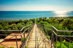 Stairs way to the Mediterranean sea Stock Images