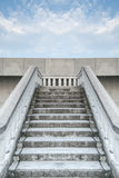 Stairs of white stonemason bridge against the blue cloudy sky Royalty Free Stock Photos