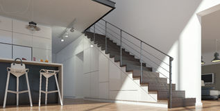Stairs from wood and metal Royalty Free Stock Photo