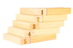 Stairs wooden with number  five up to number one Stock Photos