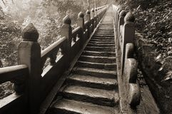 Stairs in the Wudangshan mountains. Black and white toned photo Royalty Free Stock Images