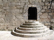 Stairs in yard in Bethlehem. The Church of the Nativity in Bethlehem is one of the oldest continuously operating churches in the world. The structure is built Stock Photography