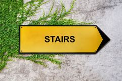 Stairs on yellow sign hanging on ivy wall. Concrete texture Royalty Free Stock Photo