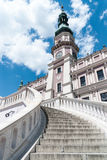 Stairs of Zamosc city hall. Stairs to the Zamosc city hall in summer Stock Photo