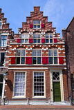 Stairstep gable. Facade of a characteristically Dutch, 16th century renaissance style house with stairstep or stepped or corbie step gable patterned roof Royalty Free Stock Images