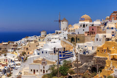 Stairsvillage Oia da opinião do mar de Santorini Fotos de Stock