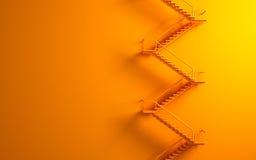 Stairway на померанцовой стене Стоковые Фотографии RF