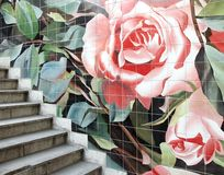 Stairway. Street stairway with decorative tiles Stock Images