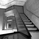 Stairway. Viewed from an unusual angle, made with a  super wide angle lens Royalty Free Stock Photos