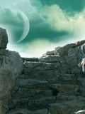 Stairway. Fantasy landscape with stairway and moon Stock Photo
