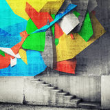 Stairway and abstract graffiti fragment on the wall. Photo collage with 3d illustration elements Stock Image