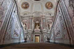 Stairway access to the Royal Palace of Caserta, It. The Royal Palace of Caserta a former royal residence in Caserta, southern Italy, constructed for the Bourbon stock photography
