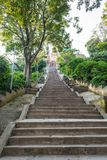 Stairway ascending uphill. Royalty Free Stock Image
