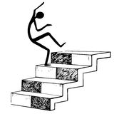 Stairway black and white and man falls down the stairs. Isolated on white background. Sketch vector illustration