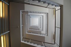 Stairway in a building with pattern effect. Is looking like the stairway on the white album of the beatles Stock Image