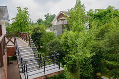 Stairway of building in summer woods on cloudy day Royalty Free Stock Photography