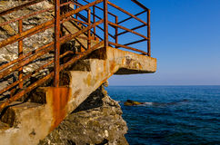 A stairway at the coast. A stairway at the Mediterranean coast near Genoa Royalty Free Stock Photo