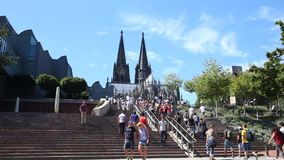 Stairway at the Cologne cathedral, Germany stock video footage