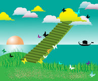 Stairway into colored clouds. Abstract colored illustration with green stairways ascending into the sky among colored clouds Stock Photos
