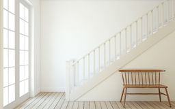 Stairway. 3d render. Interior of hallway with wood stairway. Wall mockup. 3d render Royalty Free Stock Photography