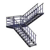 Stairway. 3D render of a realistic stairway isolated on white vector illustration