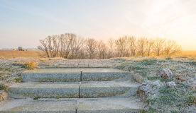 Stairway on a dike in winter Stock Photos