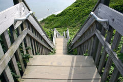 Stairway down the bluffs. The Mohegan Bluffs staircase. Block Island, RI Stock Photo