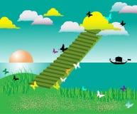 Stairway em nuvens coloridas Fotos de Stock