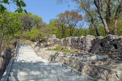 Stairway and fortress wall at the Namsan Park in Seoul Stock Photo