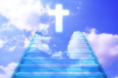 Stairway going up to the christian cross royalty free illustration