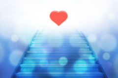 Stairway going up to the heart stock image