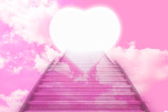 Stairway going up to the hearts door Stock Photo