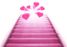 Stairway going up to the hearts royalty free stock image