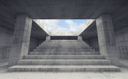 Stairway going up to the sky,  3d render. Abstract empty dark concrete interior background with columns and the stairway going up to the sky,  3d render Royalty Free Stock Image