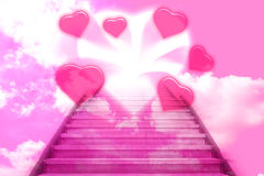Free Stairway Going Up To The Hearts Royalty Free Stock Images - 47996589