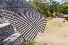 Stairway of the Grand Pyramid at the ruins of the ancient Mayan city Uxmal, Mexi. Co royalty free stock photography
