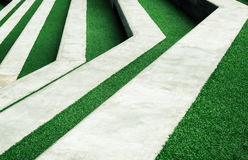 Stairway with green artificial grass Royalty Free Stock Images