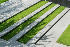 Stairway with green grass and gravel texture Royalty Free Stock Photos