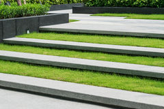 Stairway with green grass and gravel texture stock photography