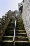 Stairway with handrail and parapet of ancient Chinese wall Stock Images